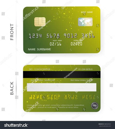 Credit Card Design Template Vector Vectorgreen Orange Abstract Bright Patterns Stock Vector 386964934