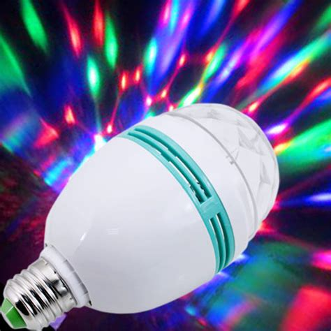 rotating led disco light rgb led rotating colors party light bulb e27
