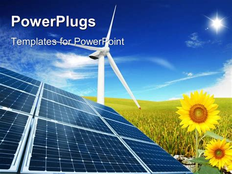 powerpoint template windmill with solar panels in cloudy