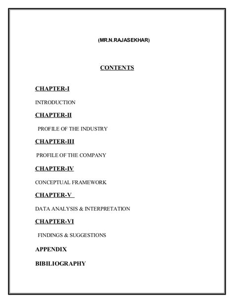 Mba Project Title In General Management by Mba Project Title Pages Karunaker
