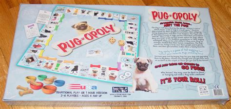 pug opoly pug opoly board pugopoly new factory sealed box late for the sky board