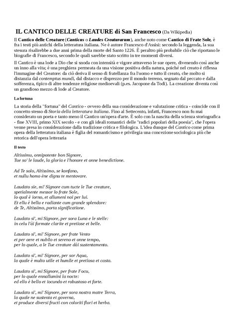 cantico delle creature testo italiano per bambini il cantico delle creature docsity