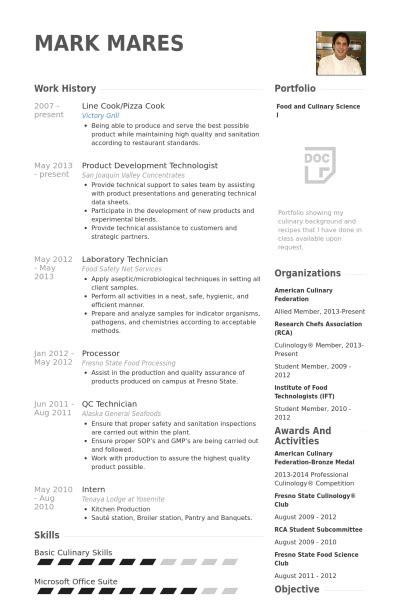 beautiful line cook resume personel profile