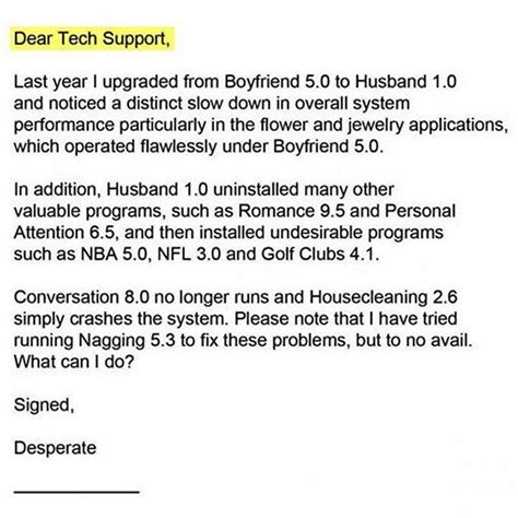 Support Letter To My Boyfriend Tech Support Offers Relationship Tips Emails Housekeeping