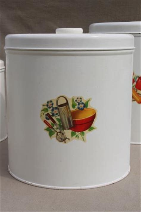 Cute Kitchen Canisters by Vintage Kitchen Canisters Metal Canister Set Tins W