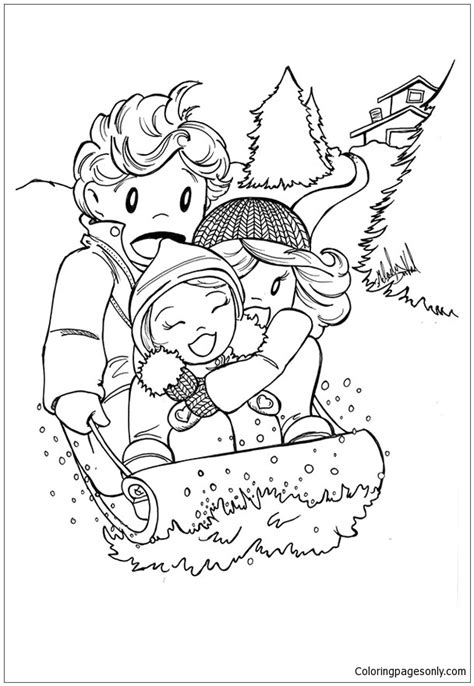winter sledding printables hubpages the winter sledding coloring page free coloring pages online