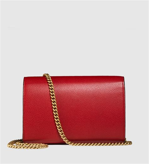 Gucci Marmont Wallet On Chain gucci gg marmont leather chain wallet in lyst