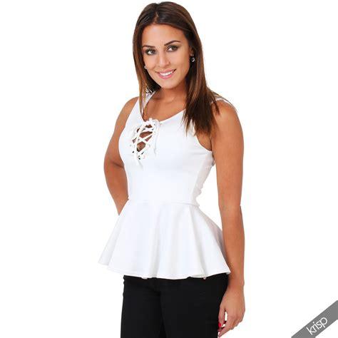 Blouse Brokat Pepplum 2 womens peplum top lace up v neck sleeveless shirt blouse vest tank ebay