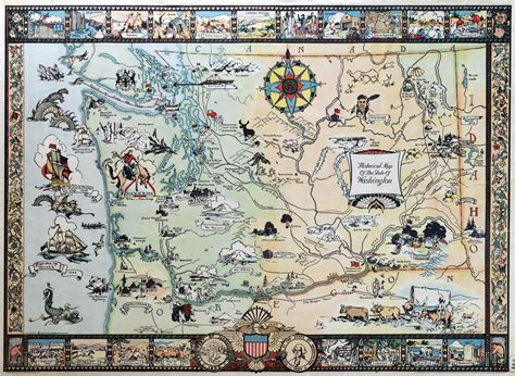 map of the state of washington usa large scale historical illustrated map of the state of