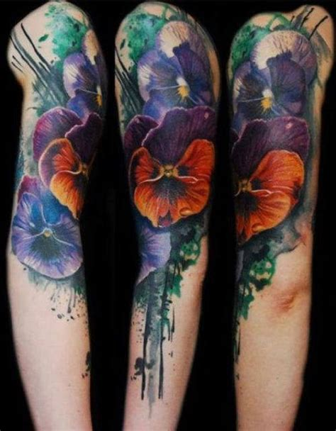 triplet tattoo pansy flower meaning and awesome designs