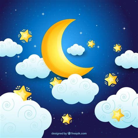 sol y la luna nubes estrellas vector de stock 169 son fondo de luna con nubes y estrellas descargar vectores