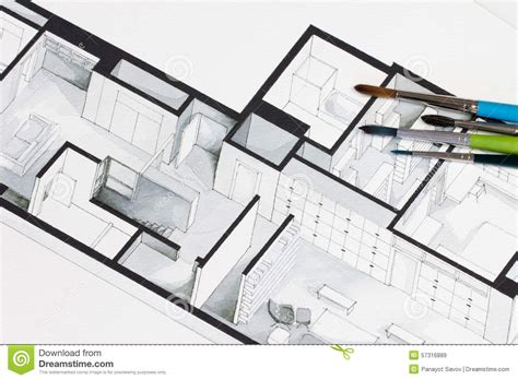 isometric floor plan group of vivid colorful brushes set on real estate floor