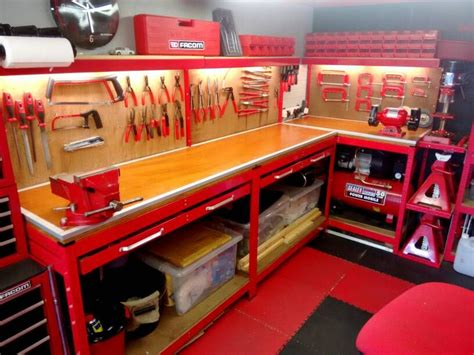 tool benches garage refinished my workbench built myself a tool creeper
