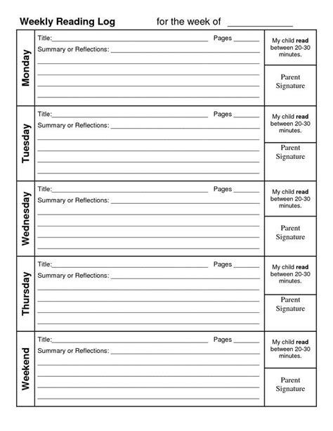 weekly reading log summary weekly reading log