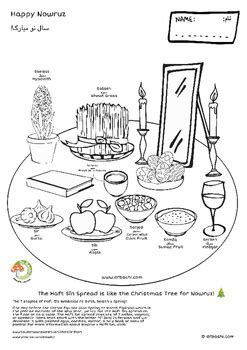 iranian new year coloring pages haft sīn spread nowruz coloring pages 2 pdf files in 1