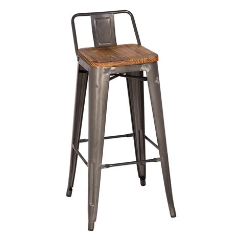 Metal Bar Stools With Backs Metro Gun Metal Wood Low Back Bar Stool Eurway