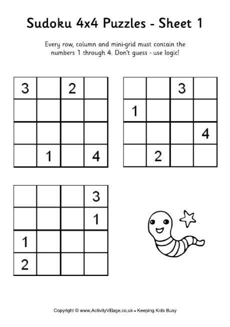 printable sudoku 4x4 4x4 sudoku puzzles to print
