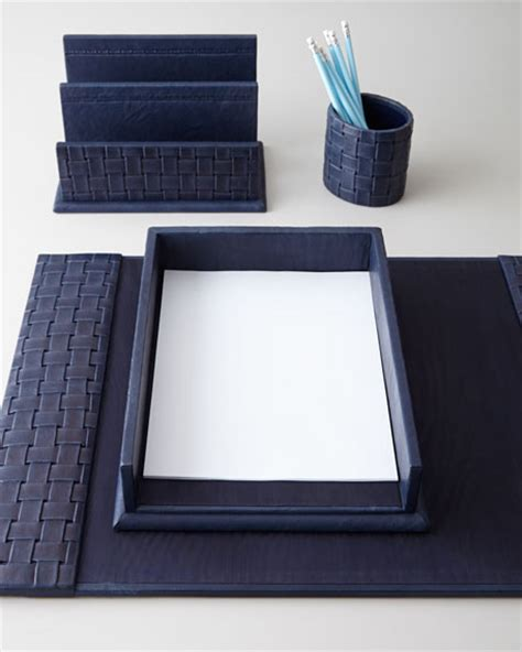 Blue Desk Accessories Blue Woven Leather Desk Accessories