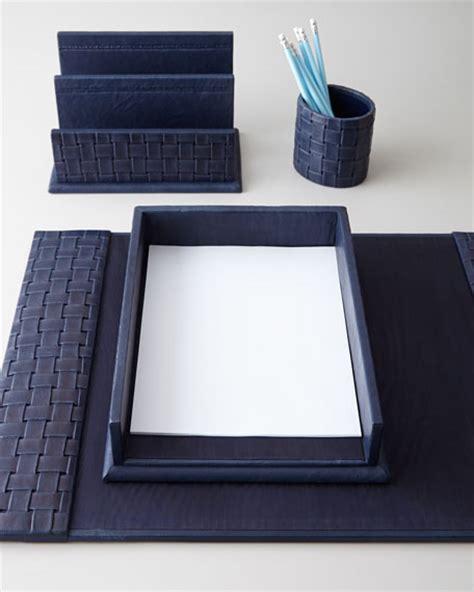 blue desk accessories blue woven leather desk accessories