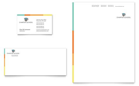 business card and letterhead design templates charter school business card letterhead template design