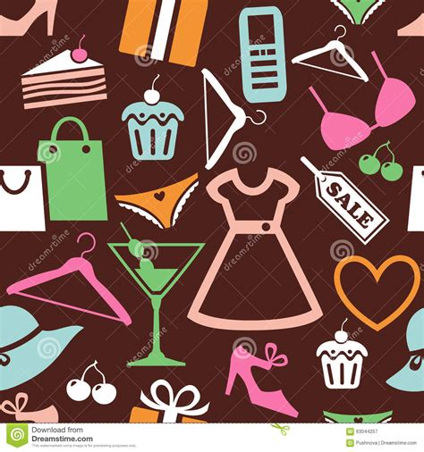seamless pattern with shopping icons shopping pattern stock vector image 63044257