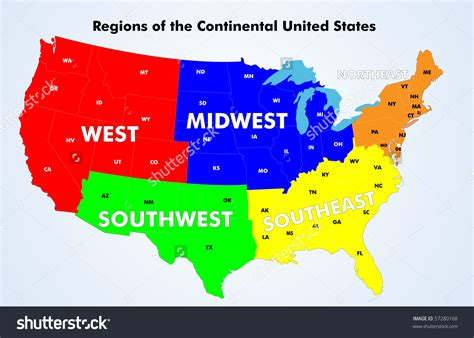 map of the 5 regions of the united states 12 continental united states vector images continental