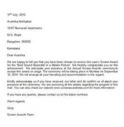 Contract Acceptance Letter by Contract Award Letter Letter Of Recommendation