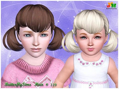 sims 3 pigtails with bangs two pigtail with bangs hairstyle 119 by butterfly sims 3
