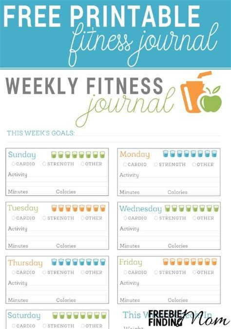 weight loss smart printable fitness planner free printable fitness journal fitness journal free