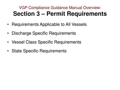Section Requirements by Ppt Vessel General Permit Compliance Guidance Manual