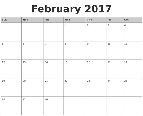 printable weekly calendar 2017 february 2017 monthly calendar printable
