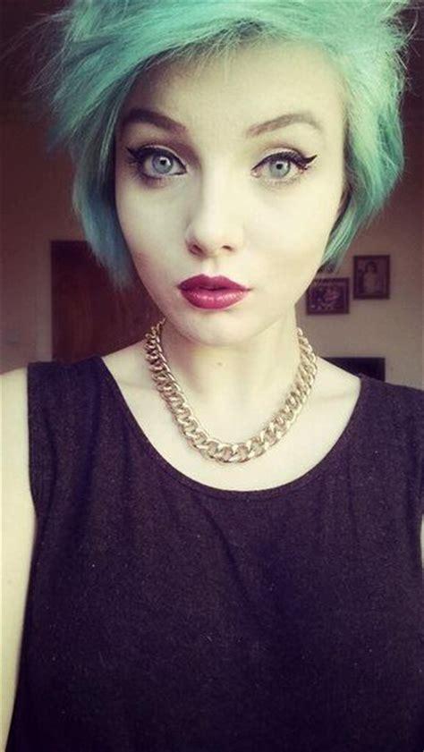 Pixy Eyeshadow Summer pinup makeup blue hair hair blue hair hair and