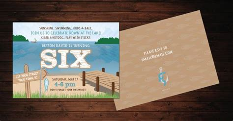 Summer Lake Party Invitations Printed Or Printable Www Lmdesign Co Kids Party Designs Lake Invitation Templates Free