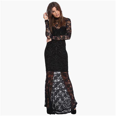 Maxi Detail Renda 1 vestido de renda de gola alta comprida ver 227 o vestido mulheres reunindo trumpet longo