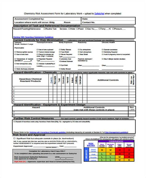 chemical risk assessment template risk assessment form template