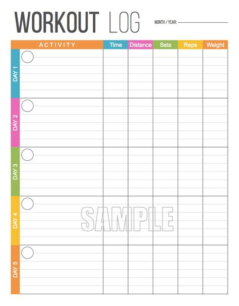 workout diary template workout log exercise log printable for health and fitness