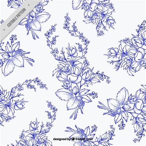 hand drawn flower pattern pattern of hand drawn flowers in blue color vector free