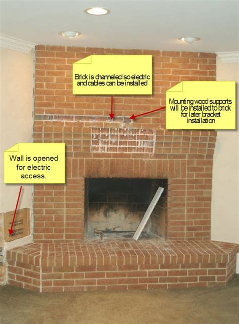 Hang Tv On Brick Fireplace build fireplace mantel brick woodworking projects plans