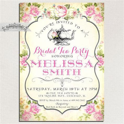 free printable bridal shower tea party invitations bridal shower tea party invitations vintage style pink