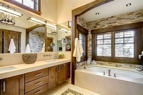 Modern Rustic Bathroom Tile Modern Rustic Bathroom Design With Tiles Immitating Wood