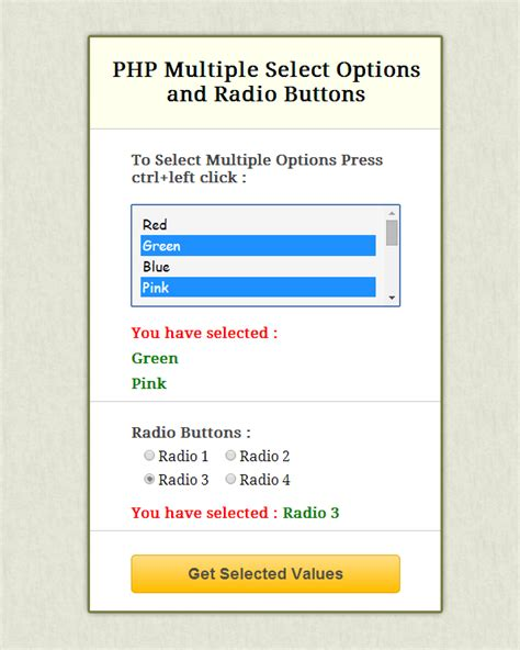 select one question below and submit them in an es php get value of select option and radio button formget