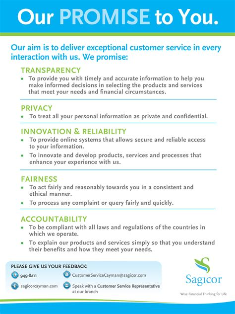 customer care charter template sagicor service charter sagicor of the cayman islands
