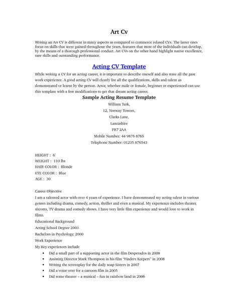 acting resume exles for beginners acting resume sle beginner http www resumecareer