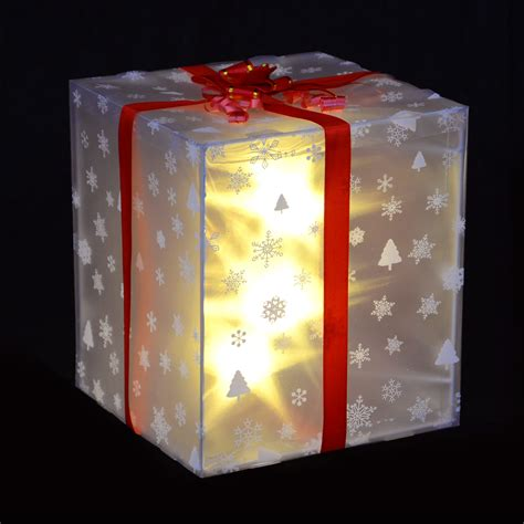 christmas gift box decoration with ribbon white led