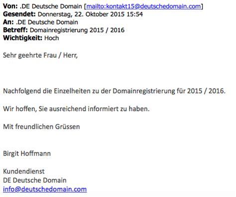 Anschreiben Rechnung Per E Mail Achtung De Deutsche Domain Verschickt Betr 252 Gerische