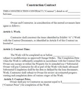 construction contract agreement template construction contract 7 free pdf sle