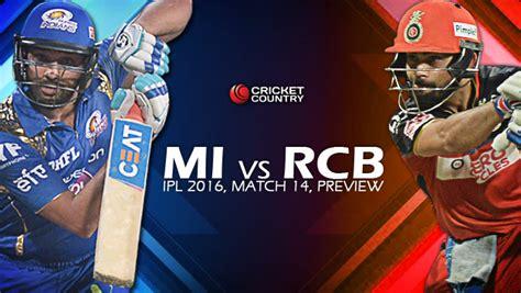 mi vs rcb ipl 2016 live streaming watch online telecast mumbai indians vs royal challengers bangalore ipl 2016