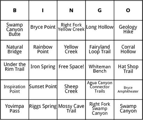 hiking route card template bryce bingo by bingo card template