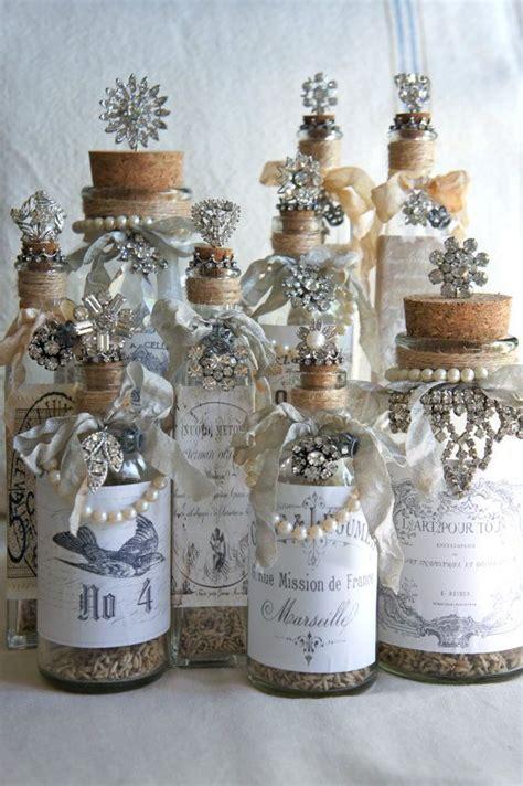 decorative glass bottle with vintage label vintage