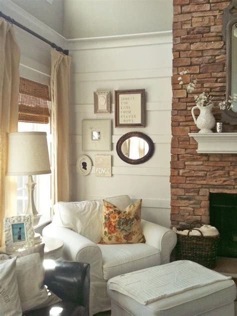 cottage living room with eclectic wall collage hgtv
